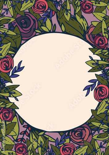 Digitally generated image of floral decoration border frame with copy space on beige background