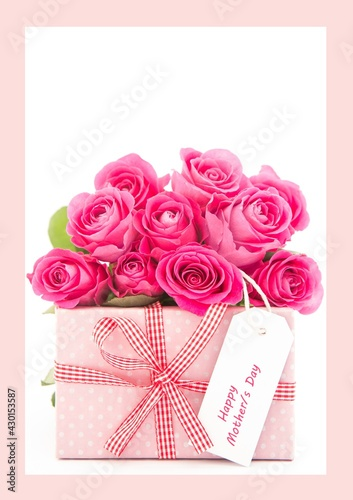 Bunch of pink roses and gift box with mothers day note against pink frame on white background frame