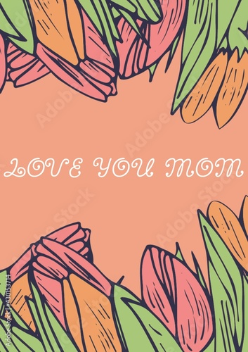 Digitally generated image of happy mothers day text against decorative flowers on orange background