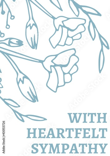 Digitally generated image of sympathy concept text against blue floral designs on white background