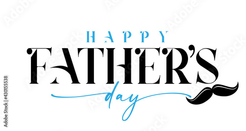 Vászonkép Happy Fathers day black and blue calligraphy with mustache
