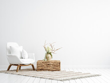 Scandi-boho Style Interior Background, Wall Mock Up, 3d Render