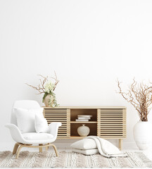 Scandi-boho style interior background, wall mock up, 3d render