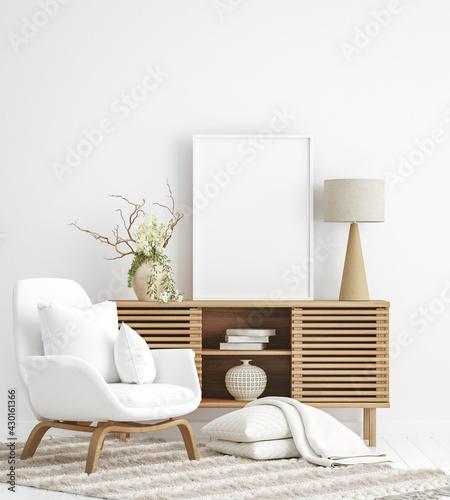 Fototapeta Poster mockup in Scandi-boho style interior background, 3d render obraz