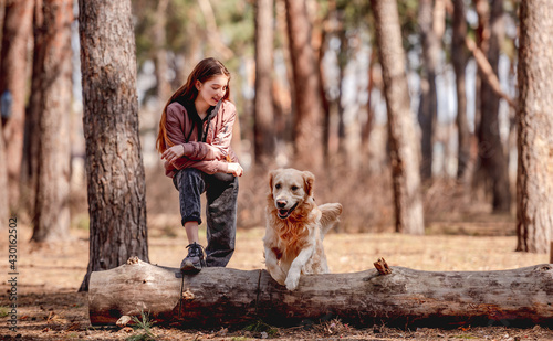 Fotografie, Obraz Girl with golden retriever dog in the wood