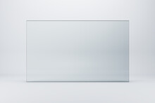 Glass Horizontal Rectangle On White Background, Advretising And Promotion Concept, 3d Rendering, Mock Up