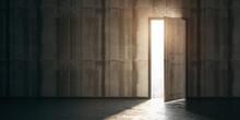 New Career And Opportunities Concept With Light Entering Through Open Door In Dark Room With Concrete Floor