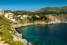 The  Coastline Of The Island Of Kephalonia  Where The Mountains Meet The Sea Can Be, Like Here, Rocky With Cliffs Or A Shallow Sandy Bay