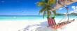 Leinwandbild Motiv Urlaubsinsel mit Hängematte