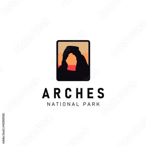 Billede på lærred logo illustration of Arches National Park