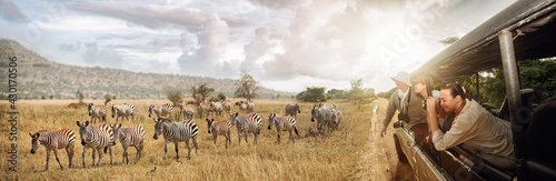 Group of young people watch and photograph wild zebras on safari tour in national park on Tanzania. - fototapety na wymiar