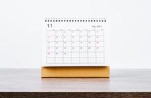 November Calendar 2021 On Wooden Table.