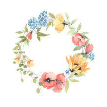 Summer Colorful Wreath With Wildflowers And Green Branches. Watercolor Frame Isolated On White Background For Your Text, Invitation Or Greeting Card, Romantic Message, Date Or Decor.