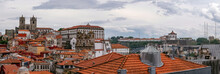 Panorama View Of Dom Luís I Bridge, Sé Cathedral And Traditional Houses With Red Tiled Roofs - Porto, Portugal