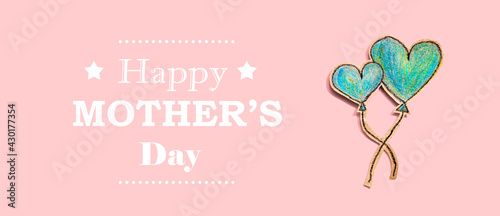 Happy mothers day message with hand draw blue hearts