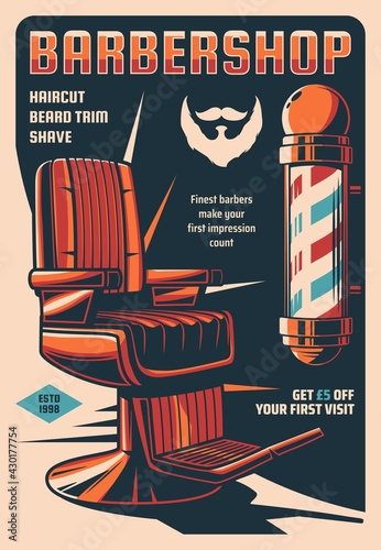 Barbershop service retro poster, men hairdresser or haircut stylist saloon vintage vector banner. Hairdresser pole sign with color spiral stripes, old leather chair and beard, mustaches silhouette - fototapety na wymiar