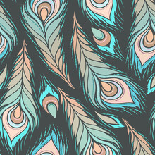 Seamless Beautiful Pattern With Peacock Feathers. Vector Clipart. Use For Wallpaper, Pattern Fills,textile Design.