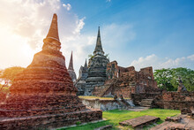 Ancient Temple In Ayutthaya, Thailand. The Temple Is On The Site Of The Old Royal Palace Of Ancient Capital Of Ayutthaya