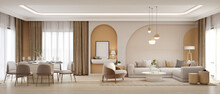 Panorama Of Luxury Living Room And Dining Area With Sofa,armchair.3d Rendering