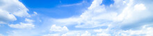 Blue Sky Background With Tiny Clouds. Panorama,Blue Sky Background With Clouds