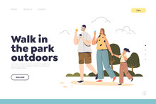 Walk In Park Outdoors Concept Of Landing Page With Happy Family Eating Ice Cream Together