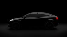 Tesla Car On A Dark Background