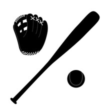 Monochrome Baseball Bat, Ball And Glove Icon Sports Tool.