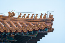 Close Up View Of Yellow Glazed Tile Roof With Chinese Cultural Dragon Sculpture In The Forbidden City, Beijing, China