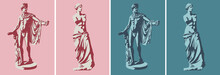 Statues Of Venus De Milo (goddess Of Love) And Apollo Belvedere In Two Colors. Stilization Of Light And Shadow. Vector Illustration, EPS 10. The Concept Of Classical Sculpture, Pop Art Style. Isolated