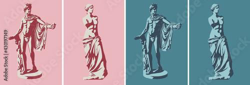 Photo Statues of Venus de Milo (goddess of love) and Apollo Belvedere in two colors
