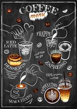 Sketch Hand Drawn Template Of Coffee Menu Isolated On Chalkboard. Line Art Barista, Coffee Maker, Iced Coffee, Tea, Drawing Drink, Outline Dessert, Cinnamon Roll, Milk, Espresso. Vector Illustration.
