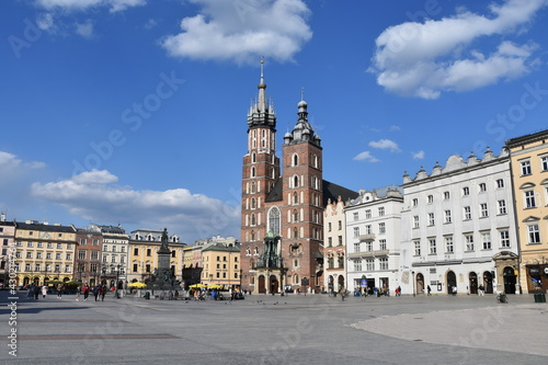 Fototapeta Krakow, historic old town, main square, monuments, city in Poland,
