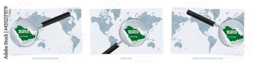 Fotografija Blue Abstract World Maps with magnifying glass on map of Saudi Arabia with the national flag of Saudi Arabia