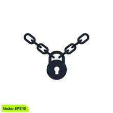 Chain And Padlock Icon Symbol