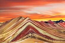 Rainbow Mountain Peruvian Andes Mountains Peru Sunset