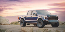 3D Rendering Of A Brand-less Generic Pickup Truck In Studio Environment
