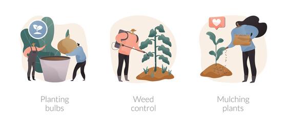 Garden seasonal works abstract concept vector illustrations.