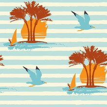 Tropical Seamless Pattern On The Theme Of Sea Summer Holidays With Silhouettes Of Palm Trees, Windsurfers And Seagulls On A Blue Striped Backdrop. Vector Repeatable Touristic Background In Retro Style