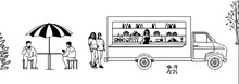 Mobile Cafe. Food Is Sold From The Car. Men Eat At A Table. The Girls Approach The Counter.