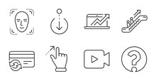 Touchscreen Gesture, Change Card And Video Camera Line Icons Set. Sales Diagram, Escalator And Face Detection Signs. Scroll Down, Question Mark Symbols. Quality Line Icons. Vector