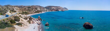 Panoramic View Of The Coast Of Cyprus. Aerial Photography From The Water To The Shore. Aphrodite's Stone District Petra Tou Romiou