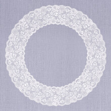 White Lace Frame On Lilac Linen Texture