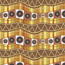Wavy Lines With An Ornament On A Background Of Vertical Multi-colored Stripes. Seamless Pattern In Brown-ocher Colors.