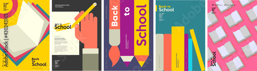 Canvas Print School backgrounds. Book, stationery, books, hand and pencil.