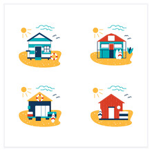 Beach Hut Flat Icons Set. Modern Facade Comfortable Houses On Beach. Perfect Relax Place. Seascape. Rest Concept. Vector Illustrations