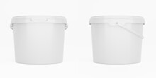 White 3,5l Plastic Paint Can / Bucket / Container With Handle And No Label, Isolated On White Background.
