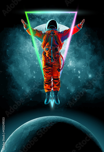 Tela Dancing astronaut on the background of the moon and space