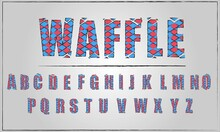 Modern Font With Grid, Alphabet, Text Grid With Bright Colors Pink And Blue, Circus Colors. Vector Illustration