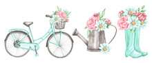 Summer Watercolor Set Of Illustrations. Bicycle With Basket And Flowers. Watering Can. Rubber Birch Boots. Bouquet Of Flowers. Chamomile, Peonies, Roses, Greenery. Illustrations Are Isolated. Print