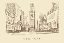 Sketch Of A Street With Advertising Spaces, New York, Times Square, Hand-drawn.